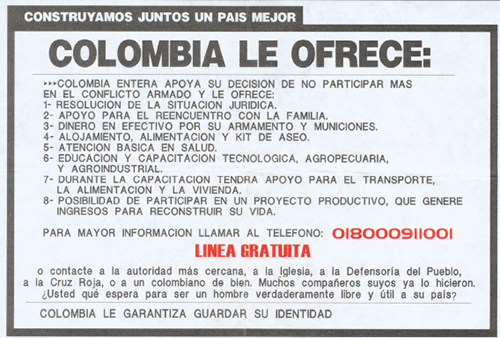 An army flyer offering enticements to would-be defectors from the illegal armed groups.