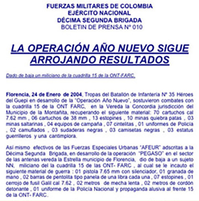 A Colombian Army press release