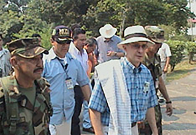 President Uribe on a tour of a recently retaken Colombian village, 2004. Photo: Colombian Army