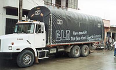 A trucked graffitied by the ELN guerrillas. Photo: Garry Leech