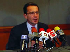 <p>An official photo of Colombian president Alvaro Uribe at a press conference.</p>