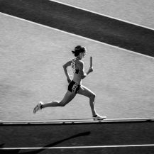 <p>Britain's Nicola Sanders runs the anchor leg of the women's 4x400m final at the 12th IAAF World Championships, at Berlin's Olympiastadion. Initially finishing fourth, the British team was later upgraded to bronze after the Russians were disqualified for doping.<br /></p>