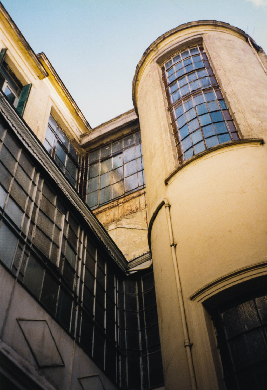 <p>The stairwell as seen from the courtyard of this modest hotel in San Telmo. It was my temporary home when I moved to Buenos Aires in 1997 and started my search for a flat. I love this picture.</p>