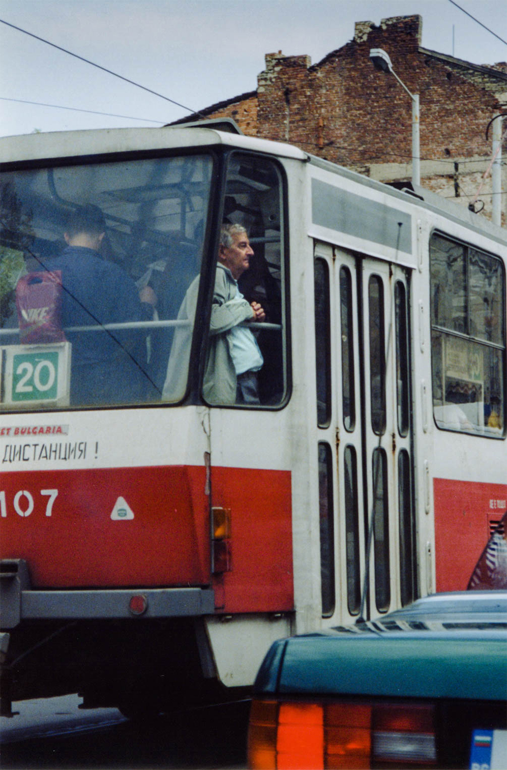 <p>A man lost in his thoughts on a tram in central Sofia.</p>