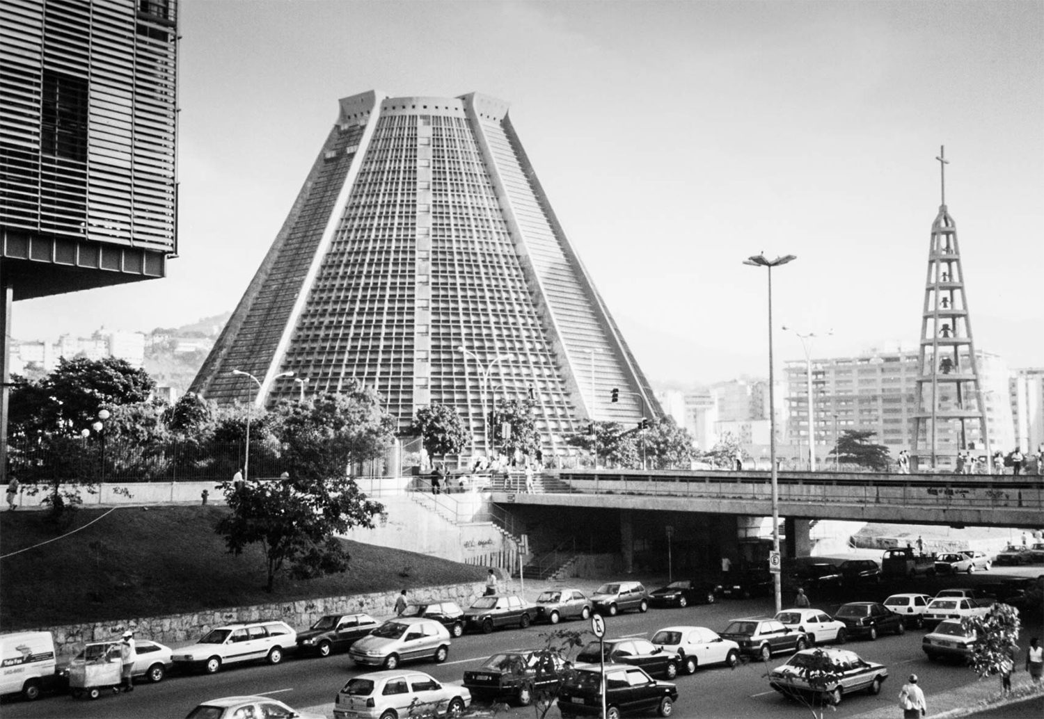 <p>Edgar Fonceca's concrete pyramidal cathedral was part of a wave of modernism in Brazil in the 1960s and 1970s (including a whole new capital city built on the ideals, Brasilia). In the foreground corner you can see a bit of another modernist stunner, the EDISE headquarters for Petrobras.</p>