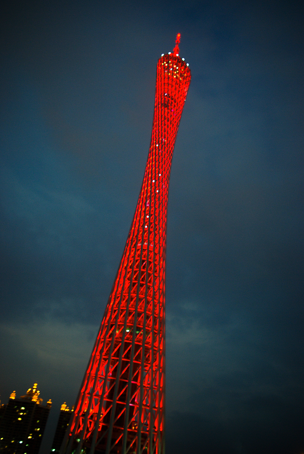 <p>Guangzhou's Canton Tower (formerly the self-defining TV Astronomical and Sightseeing Tower) is a twisting geometric latticework that climbs to a frightening 462 metres. Designed by Mark Hemel and Barbara Kuit, it topped out in 2011 and lights up in a swirling rainbow of colours every night.</p>