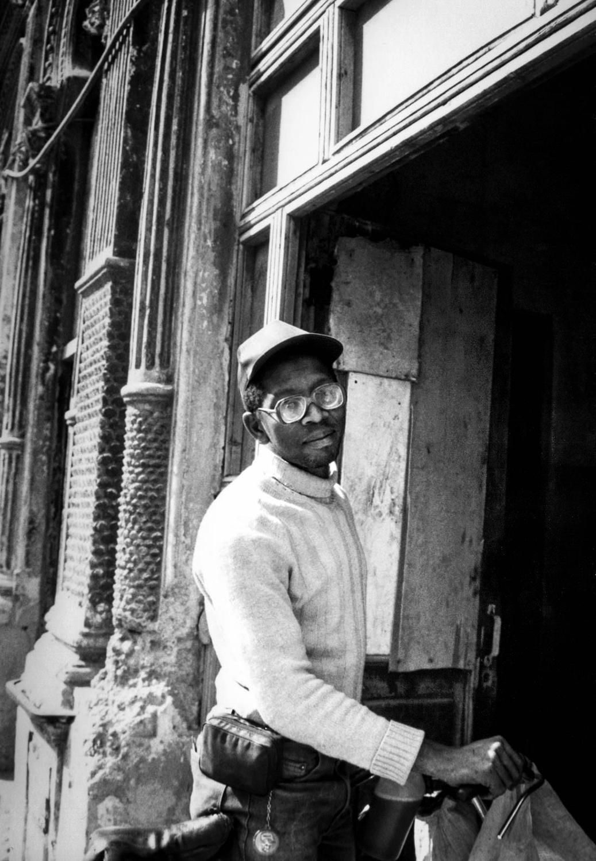 <p>A man arriving home in Havana.</p>