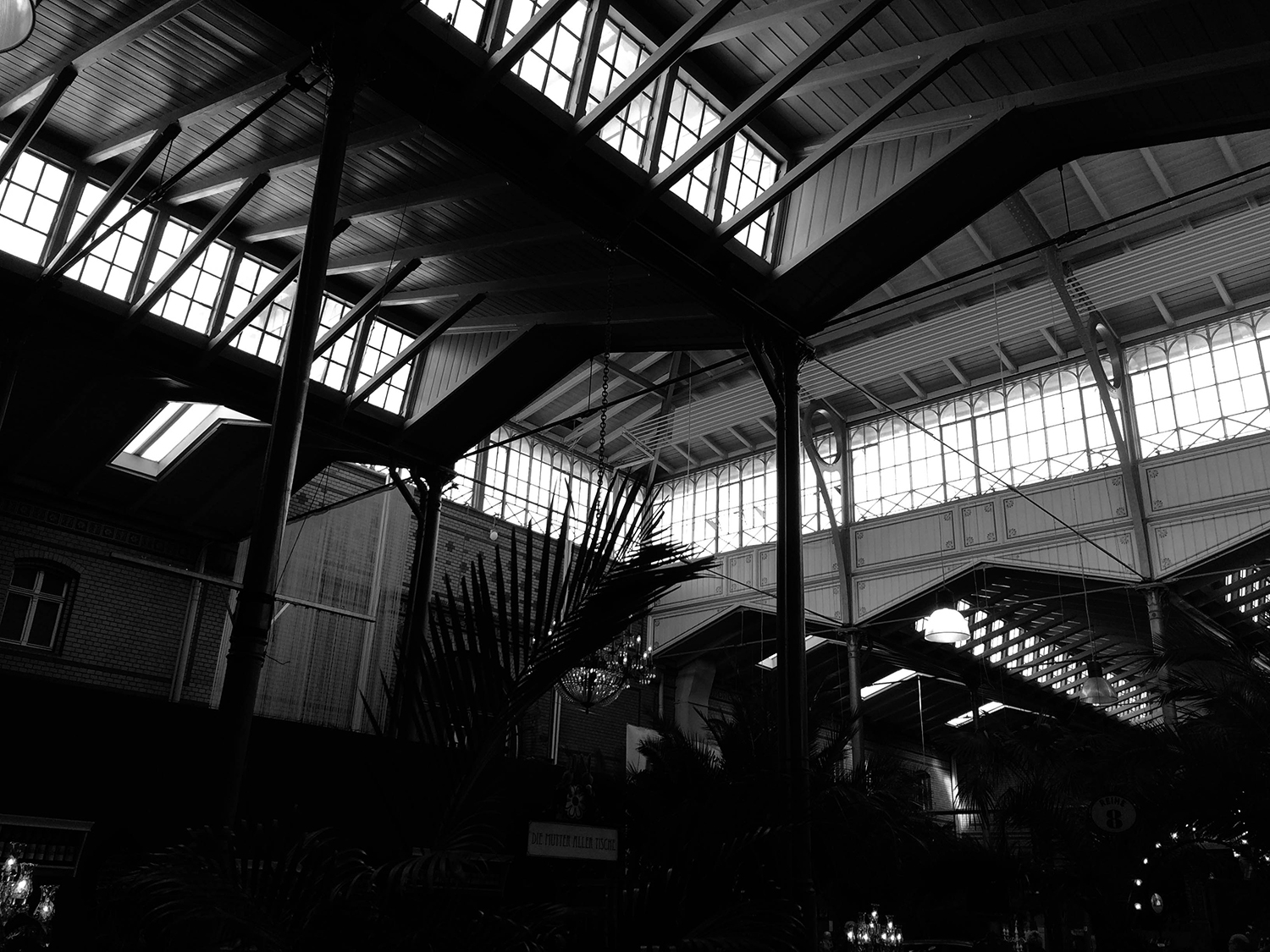 <p>Skylights and the zig-zagging roof at the Arminius Markthalle, a covered market dating from the 1890s.</p>