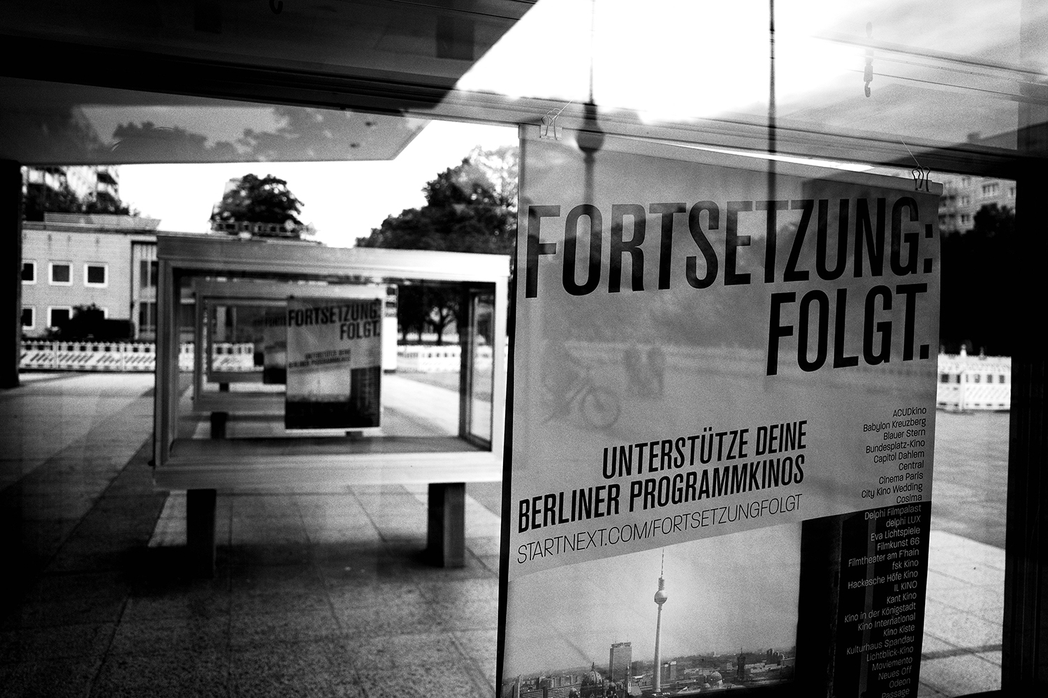 <p>During the Covid-19 lockdown of 2020, display cases outside the Kino International promise that film screenings are 'to be continued'.<br /></p>