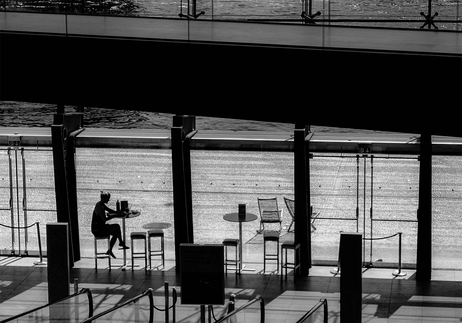 <p>A mobile worker in a modern space, or perhaps someone just relaxing.</p>