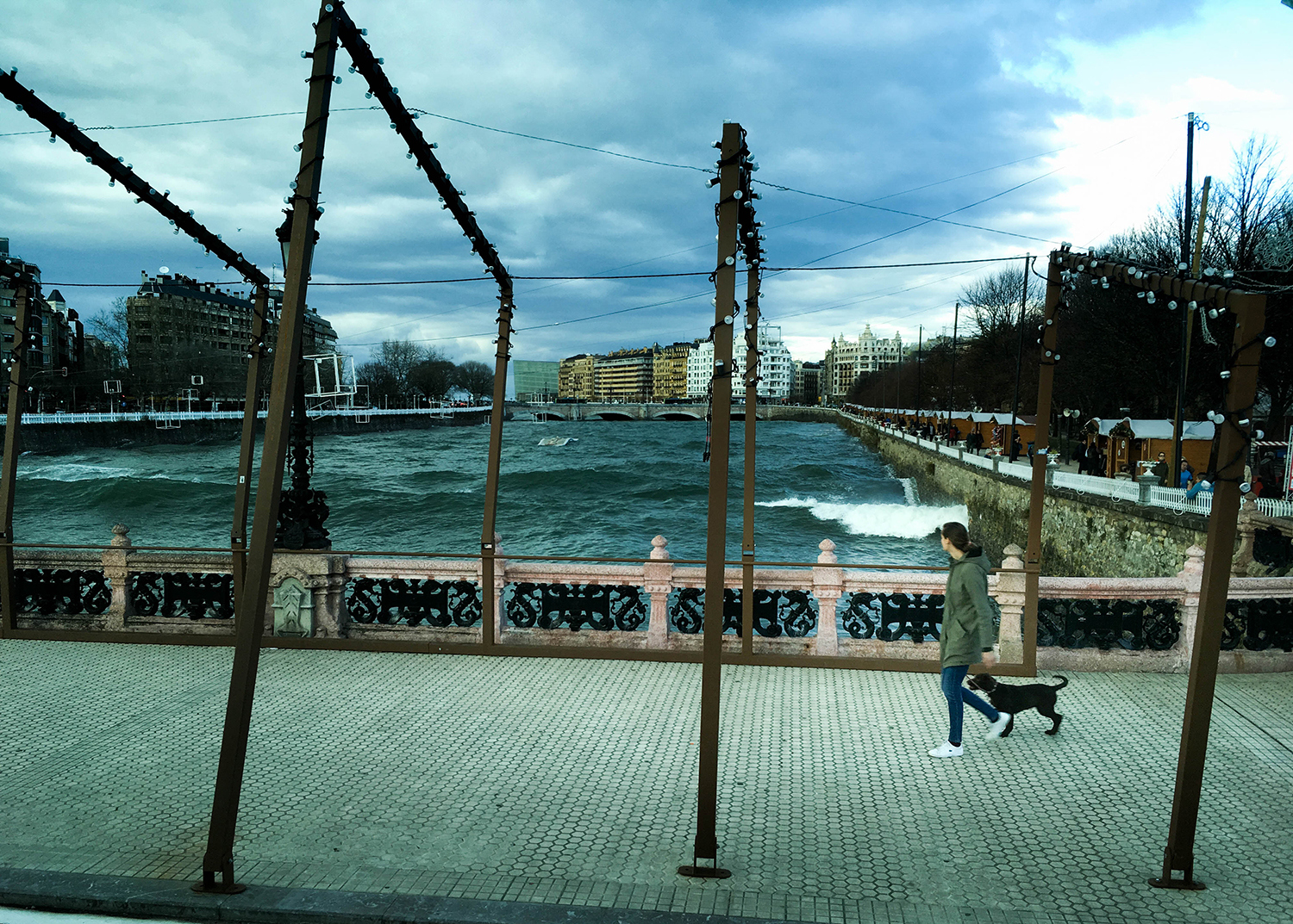 <p>A woman and her dog take in the dramatic waters while crossing the Maria Kristina zubia (bridge) in Donostia. The Urumea river flows into the Bay of Biscay just beyond those buildings, and on this winter day winds off the Atlantic were driving waves well upstream. <br /></p>