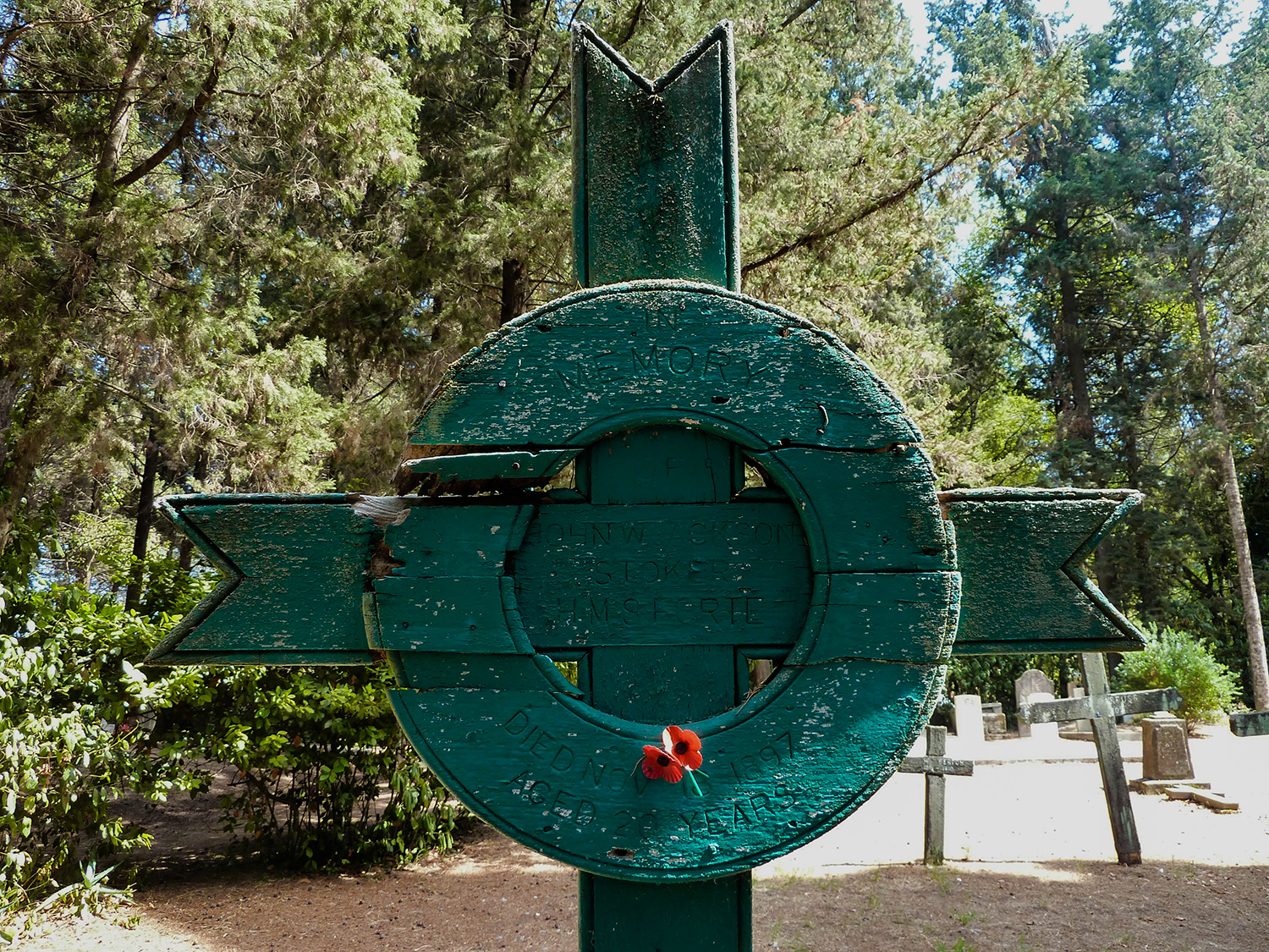 <p>A weather-worn wooden cross in the British Cemetery on Corfu. </p>