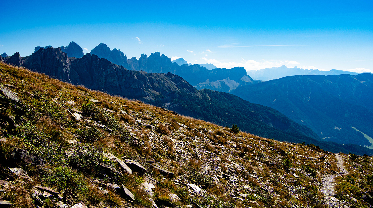 <p>From a narrow trail, a view southward toward the Odle group of peaks and beyond.</p>