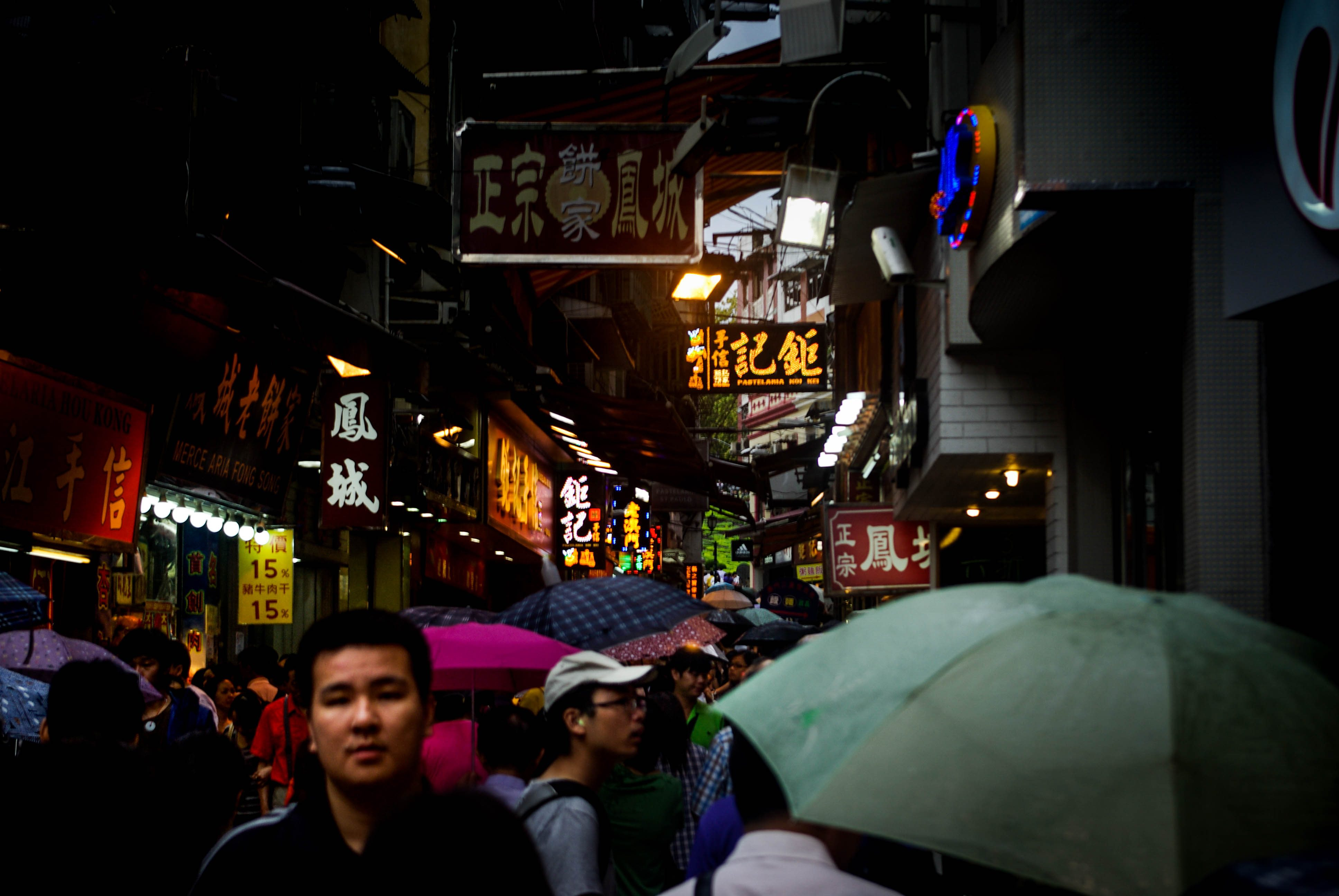 <p>A crowded shopping street in Macao.</p>