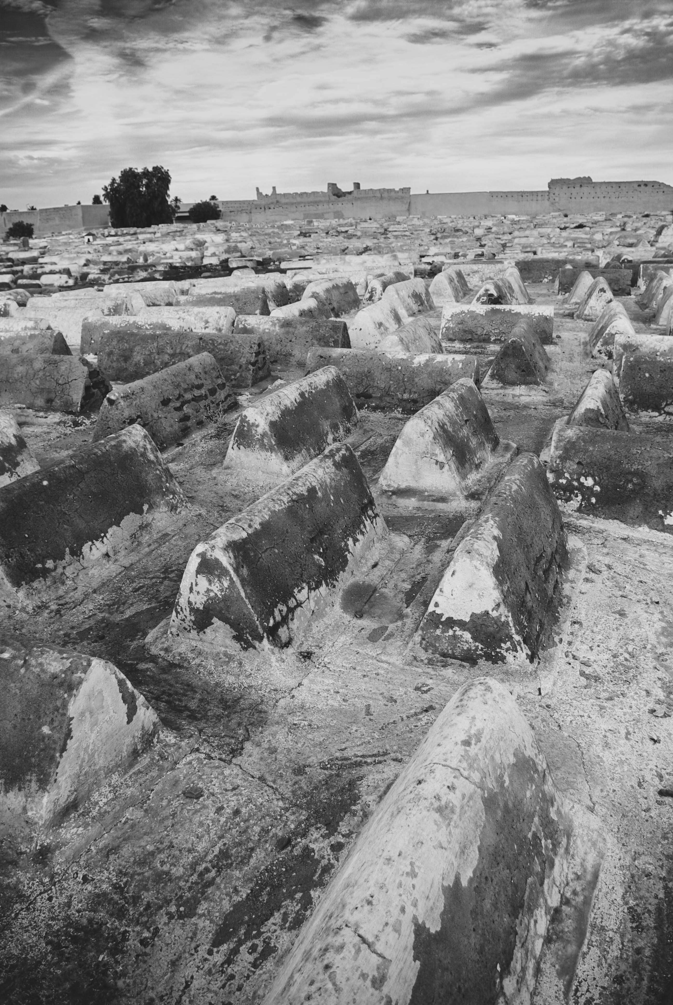 <p>Simple graves sealed with concrete in one section of Marrakech's Jewish cemetery. This large cemetery speaks to the considerable size of the Jewish community in Marrakech at one point.</p>