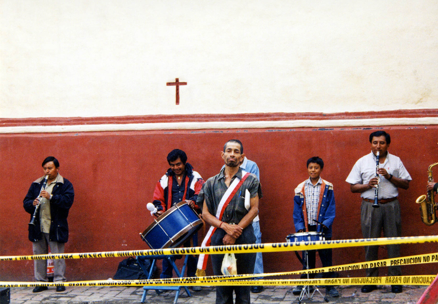<p>A band of musicians performs in a churchyard in Puebla, Mexico.</p>