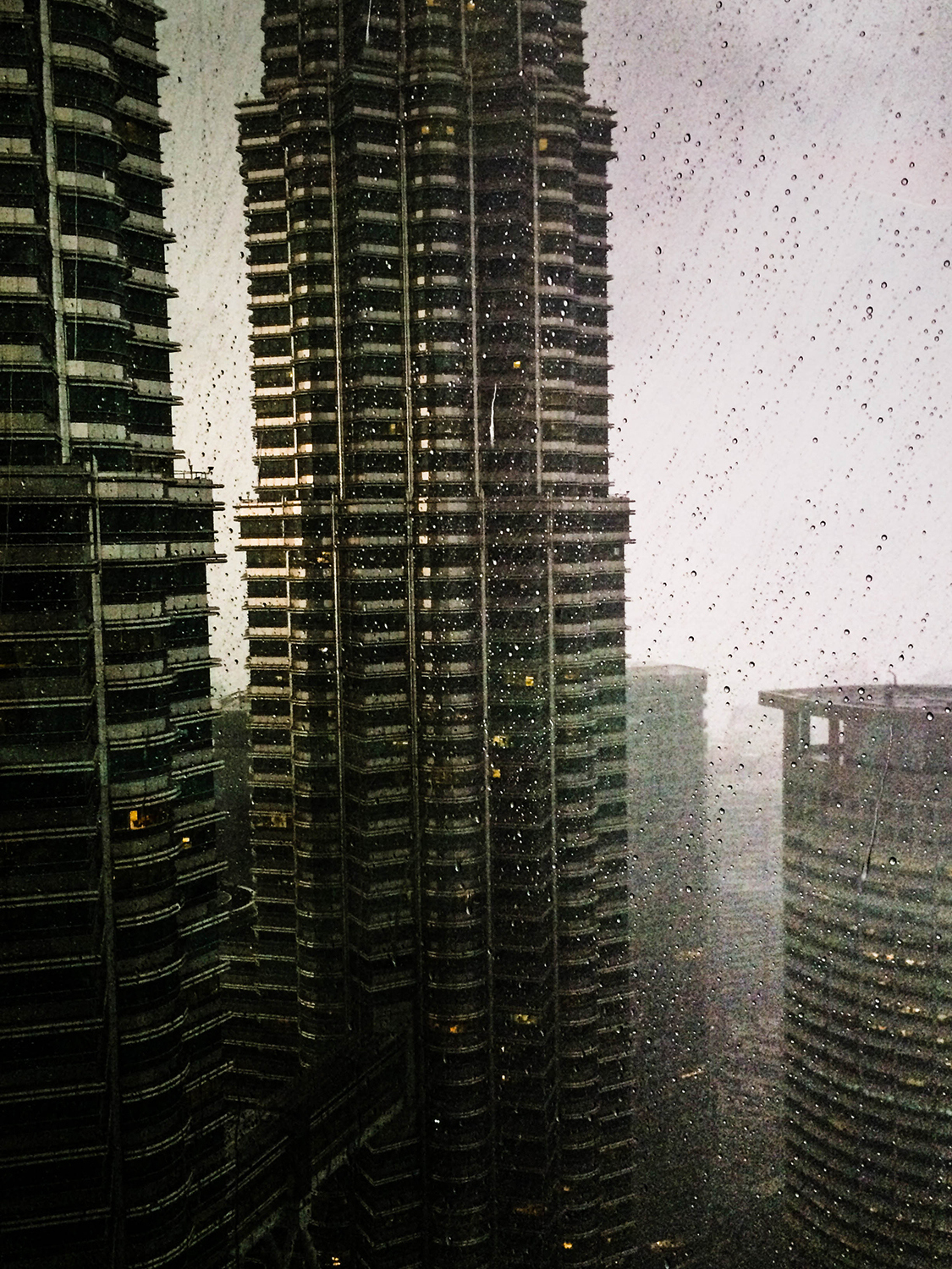 <p>Diffused light and swirling rain interplay with the unique contours of the Petronas Towers.</p>