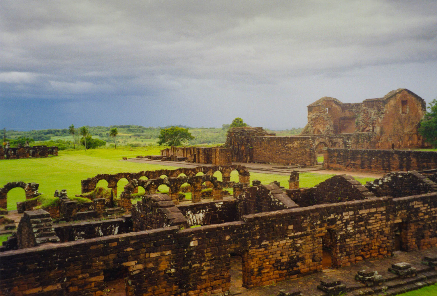 <p>Storm clouds arrive at la Santísima Trinidad de Paraná, one of the Jesuit <em>reducciónes</em> (missionary colonies) built in this region during the 17th and 18th Centuries. They fell into ruin when the Jesuits were expelled by Spain in 1767. </p>