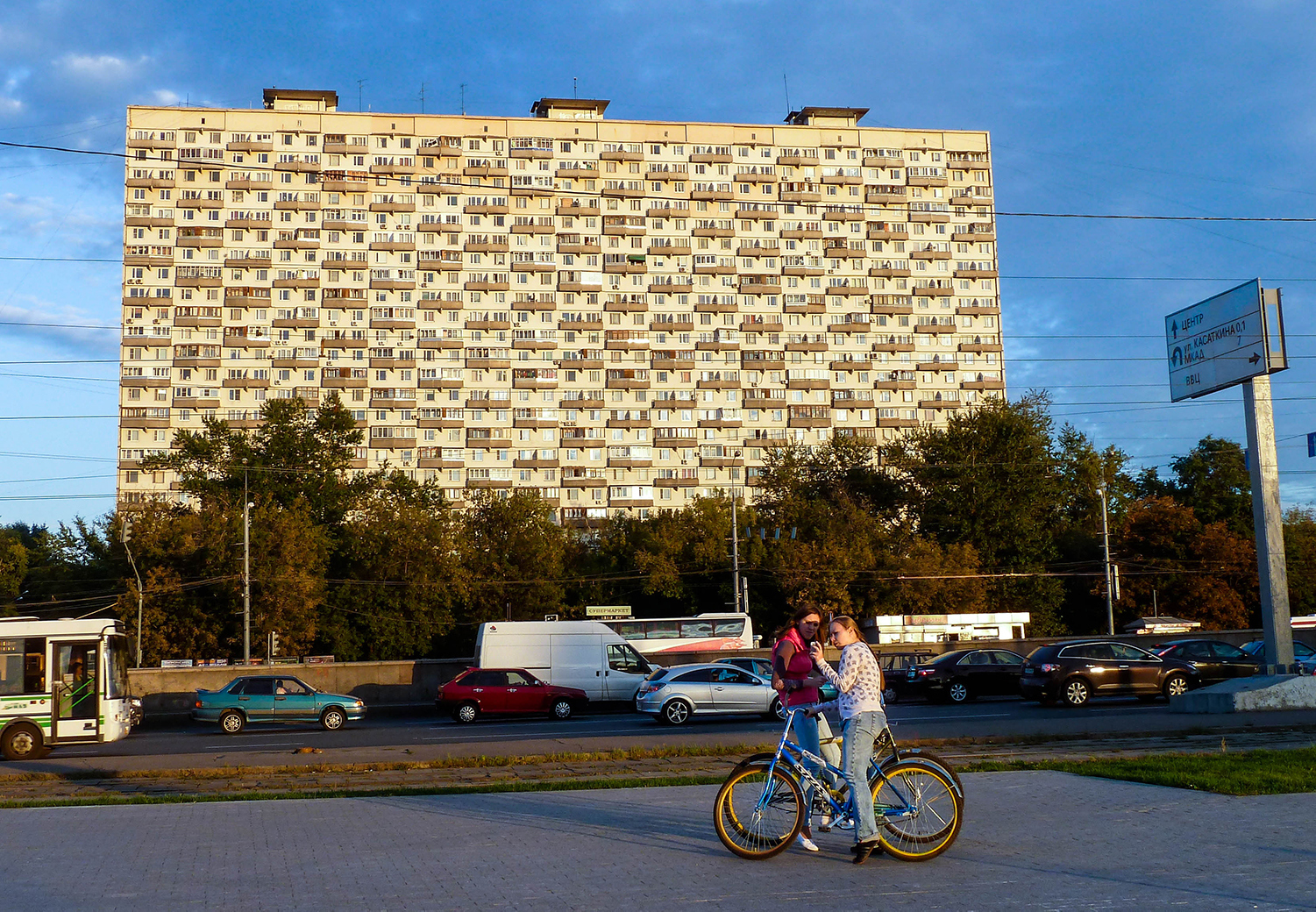 <p>Designed by Viktor Andreyev (who also did the Hotel Cosmos just down the road), this 25-storey tower block dates from 1968 and is something of a Moscow landmark. The trees block the stilts that give it its unusual name, the House on Chicken Legs (Дом на ножках in Russian). </p>
