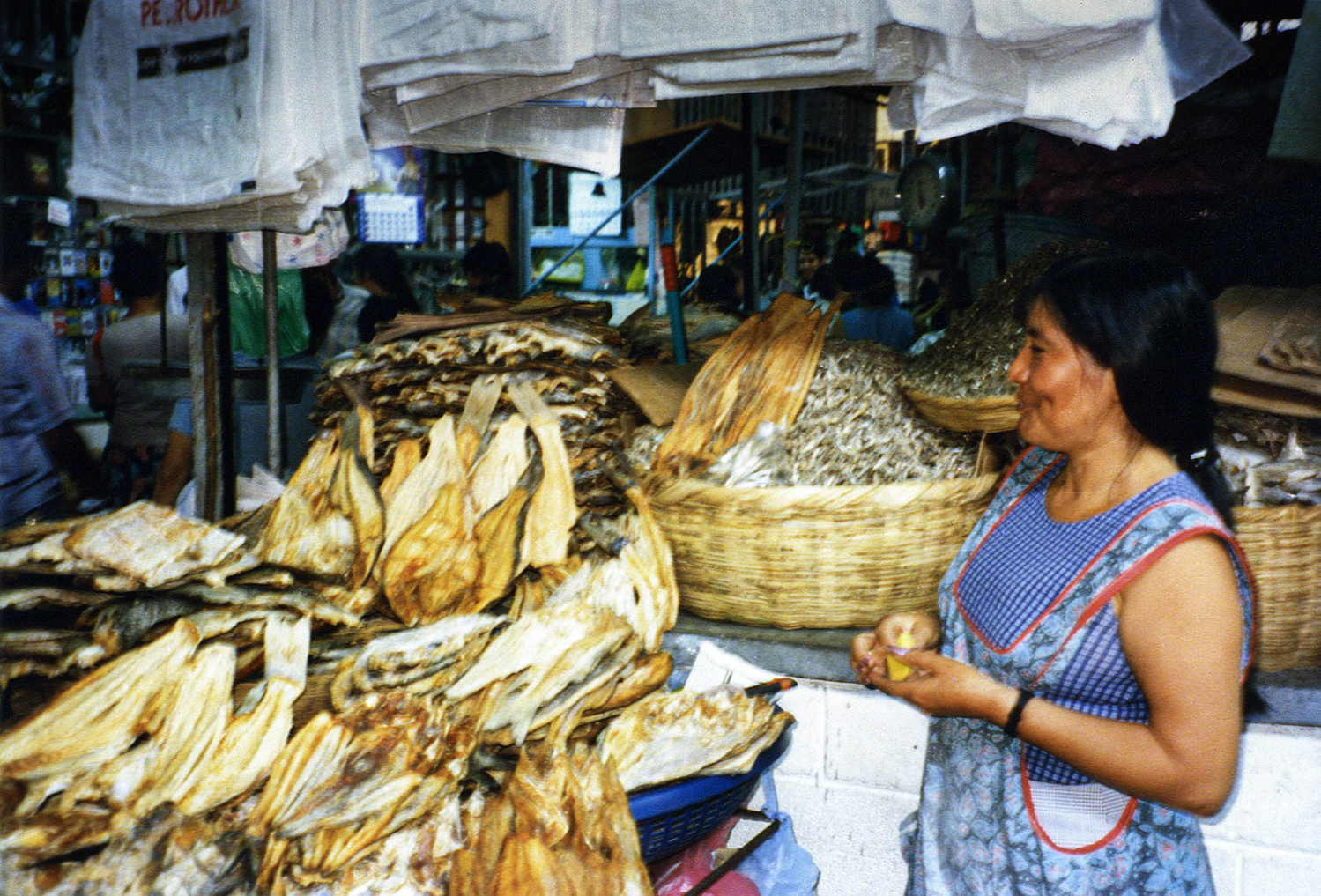 <p>A woman selling dried fish in San Salvador's central market.</p>