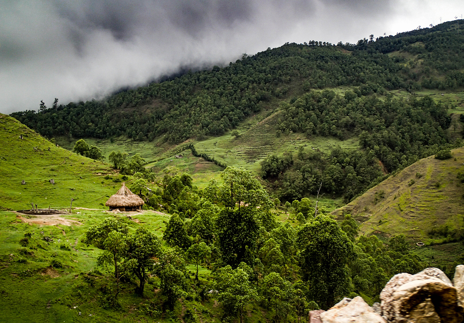 <p>A hut in the mountains en route to Ramelau, with the dramatic weather of the rainy season appearing again!</p>